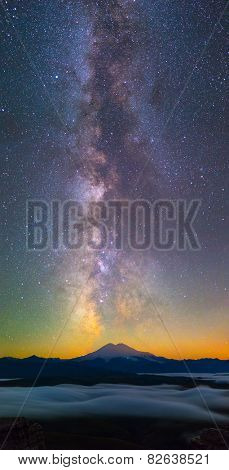 Milky Way over Elbrus mountain