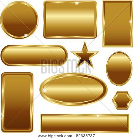 Golden stickers banners signs set isolated on white