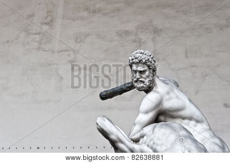 Hercules Beating The Centaur Nessus Statue In Florence, Italy