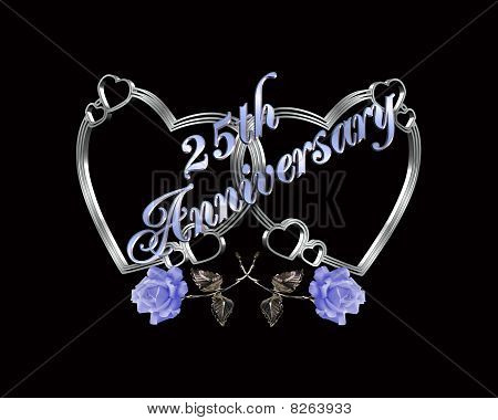 25th anniversary silver hearts on black