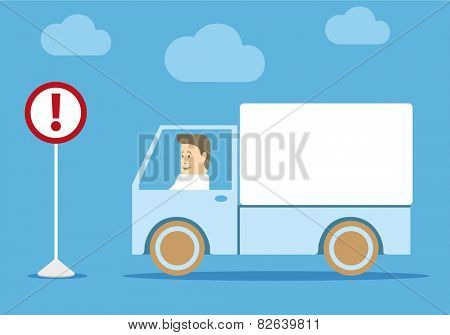 Freight transportation. Truck and sign