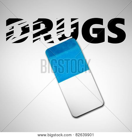 Eraser erasing the word DRUGS on a white background