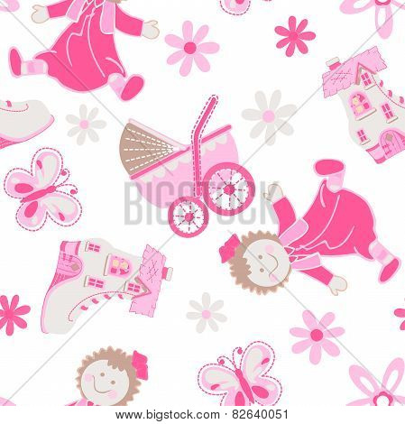 Shoe House With Doll And Pram Seamless Pattern