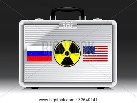 Silver Suitcase Nuke With Flags Of Russia And Usa