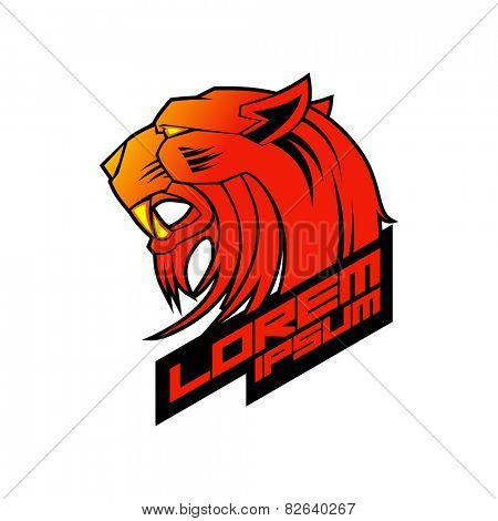 Red evil tiger head logo template.