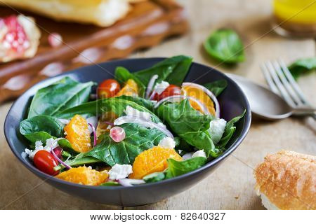 Orange With Spinach, Pomegranate And Feta Cheese Salad