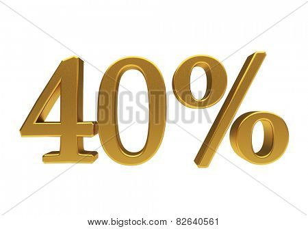 40 percent off. Discount 40. 3D illustration