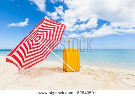 Sunshade And Trolley At The Beach