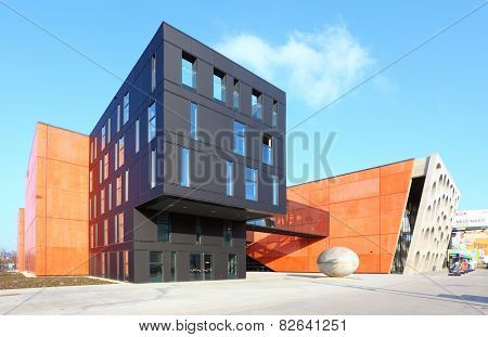PILSEN CZECH REPUBLIC - FEBRUARY 6, 2015: The New Theatre building includes 650 seats in two auditorium. Pilsen theatre is the organiser of the International Festival Theatre.