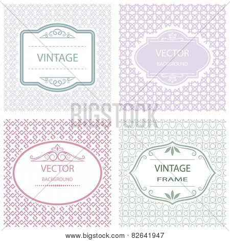 Abstract flat vintage frame vector background.