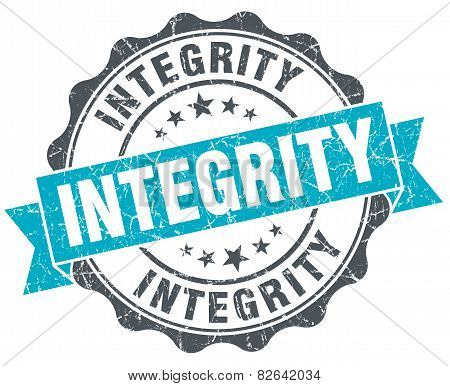 Integrity Vintage Turquoise Seal Isolated On White