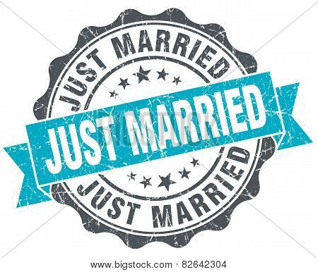Just Married Vintage Turquoise Seal Isolated On White