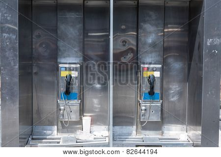 typical payphone in new york city downtown