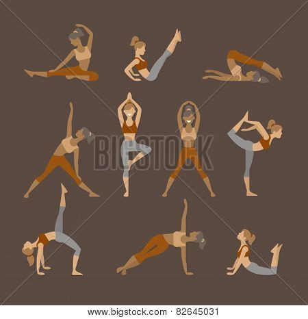 Colored Yoga Set Icons Isolated On White Background. Female Silhouette