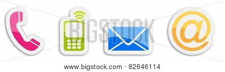 Four Colorful Contacting Sticker Symbols