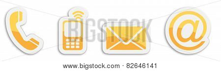 Four Contacting Sticker Symbols In Orange