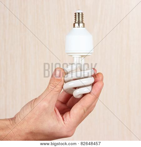 Hand holding a spiral tungsten bulb on light wood background