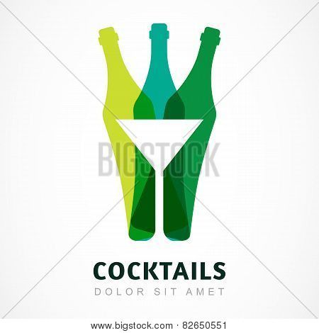 Abstract Colorful Logo Design Template. Bottle And Martini Glass Vector Icon. Concept For Bar Menu,