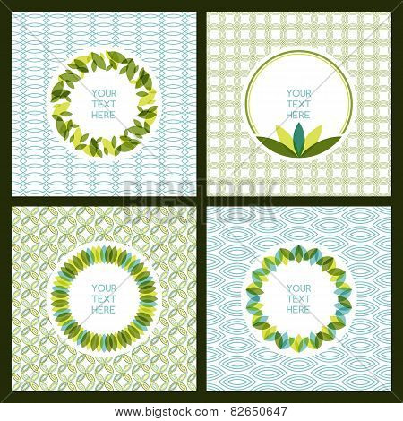 Vector Set Of Fresh Green Leaves Frame And Seamless Pattern. Nature Border Background With Place For