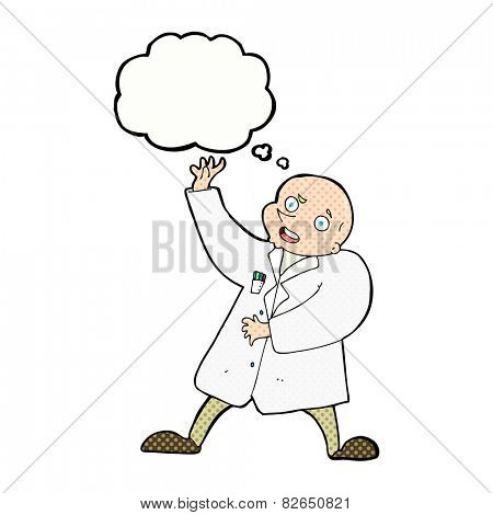 cartoon mad scientist with thought bubble