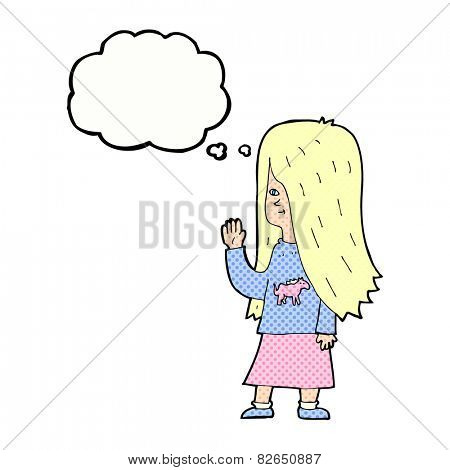 cartoon girl with pony shirt waving with thought bubble