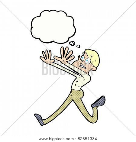 cartoon man running away with thought bubble