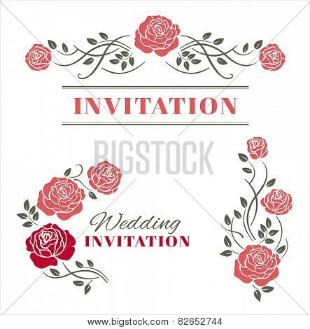 Design elements with roses. Vector illustration.