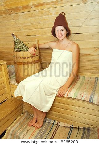 Young Woman  At Sauna