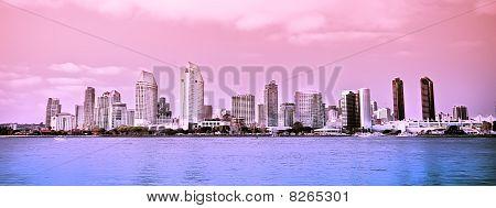 San Diego City Skyline Along Harbor