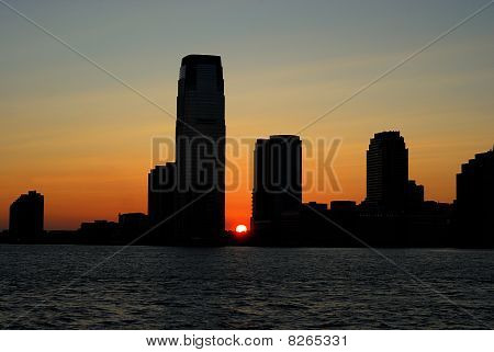 Sunset of the skyline for Exchange Place in New Jersey