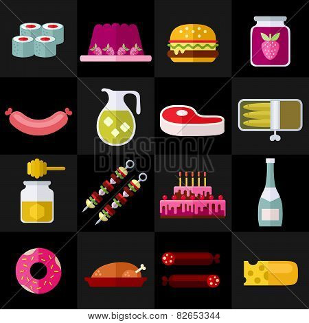 Different Food Flat Icons