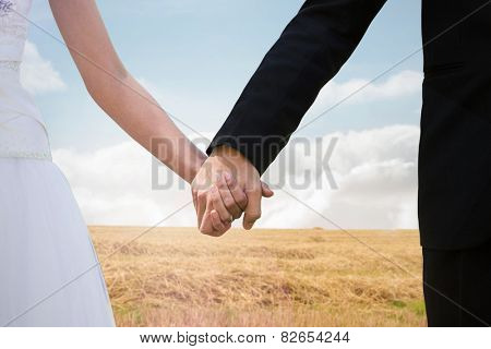 Mid section of newlywed couple holding hands in park against bright brown landscape