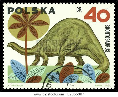 Vintage  Postage Stamp.  Dinosaur Brontosaurus.