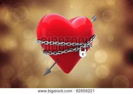 Locked heart against orange abstract light spot design