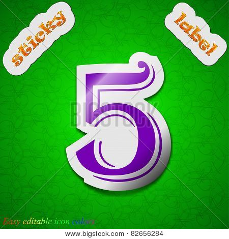 Number Five Icon Sign. Symbol Chic Colored Sticky Label On Green Background. Vector