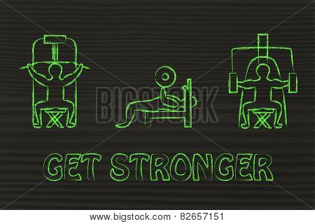 Strenght Training And Weight Lifting Illustration, Man Using Gym Machines