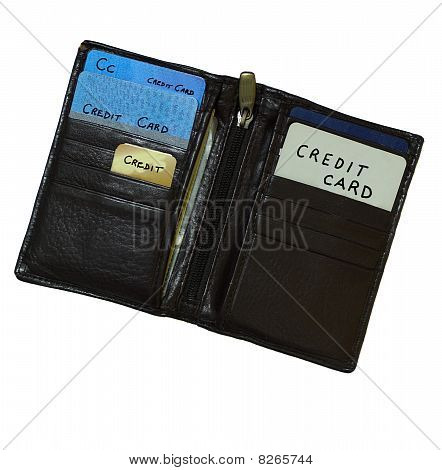 Old Black Leather  Wallet With No Money Just Credit Cards
