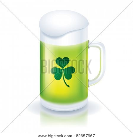 Green beer with clover icon for Saint Patricks Day