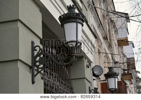 Street Lamp On The Wall Of Kyiv House