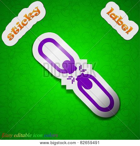 Broken Connection Icon Sign. Symbol Chic Colored Sticky Label On Green Background. Vector