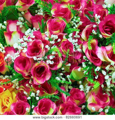 fake roses floral background