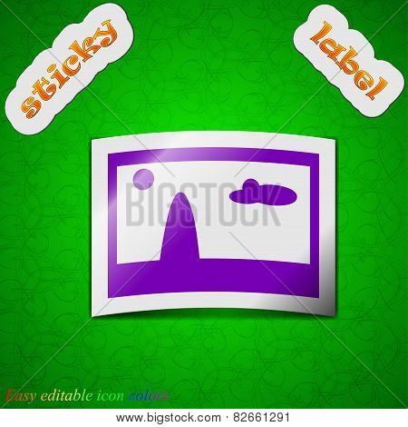 File Jpg Icon Sign. Symbol Chic Colored Sticky Label On Green Background. Vector