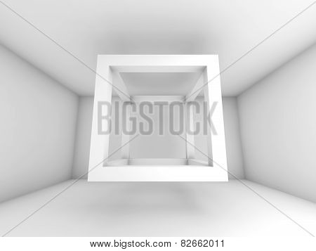 3D Background Illustration, Flying Empty Beam Cube