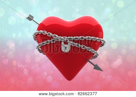Locked heart against blue and pink light spot design