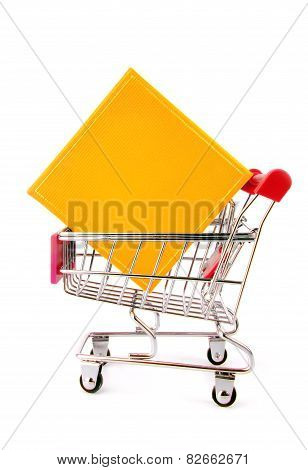 gift box in trolley isolted