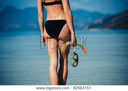 Sexy Young Woman With Snorkeling Gear On Beach