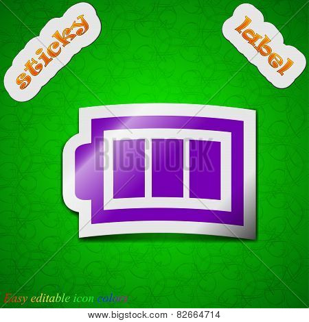 Battery Fully Icon Sign. Symbol Chic Colored Sticky Label On Green Background. Vector