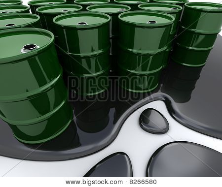 Oil Drums Sat In Spilt Oil