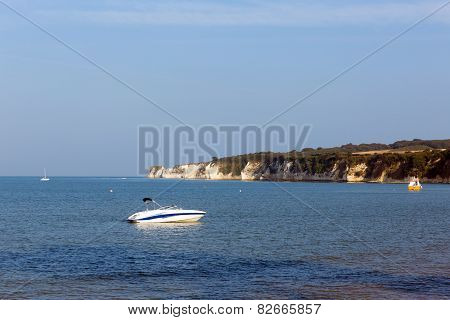 Dorset coast Studland south England UK view to chalk cliffs Old Harry Rocks