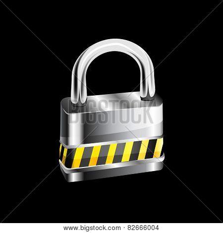 Metal padlock on white background